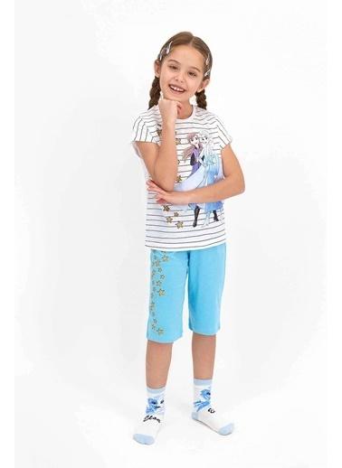 Frozen Karlar Ülkesi Frozen Lisanslı Toz Pembe Kız Çocuk Kapri Takım Beyaz